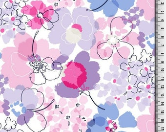 Pink and Purple Floral Print Jersey Knit Fabric - Half Metre