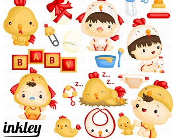Baby in Chicken Costume   Baby    - Clipart Commercial Use Vector Graphic Digital Clip Art Digital Images Cute Kawaii Scrapbooking PNG Art
