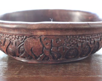 Vintage Large Round Hand Turned and Carved Wooden African Bowl Safari Animals