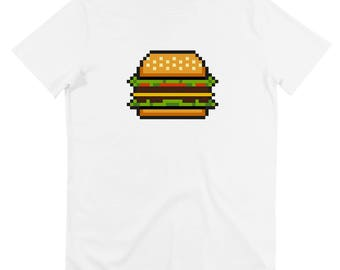 T-SHIRT pixels - burger - geek - retro - old-school - available in S, M, L, XL / / pixelated burger print men t-shirt sizes s, m, l xl