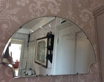 Vintage 1930-40s Fancy Edge Mirror with Unusual Carved 'desert oasis'  Design
