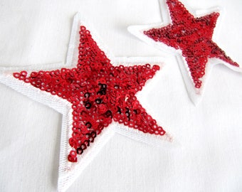 Rocca Iron On Star, 2 Pcs.Red Star Patch ,Sequin Star Applique