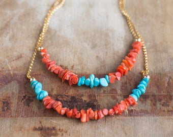 Turquoise and Coral Layered Necklace, Real Raw Turquoise and Raw Italian Coral Double Strand Necklace, Summer Necklace, December Birthstone