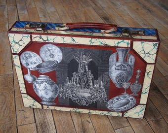 Vintage Luxury Leather Briefcase with collage of prints