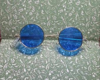 Vintage 1960s/70s Blue Round Lense Sunglasses, Brass Frames