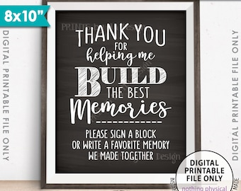 "Sign a Block Sign, Thank You for Helping Me Build Memories, Graduation Party, Retirement, 8x10"" Chalkboard Style Printable Instant Download"