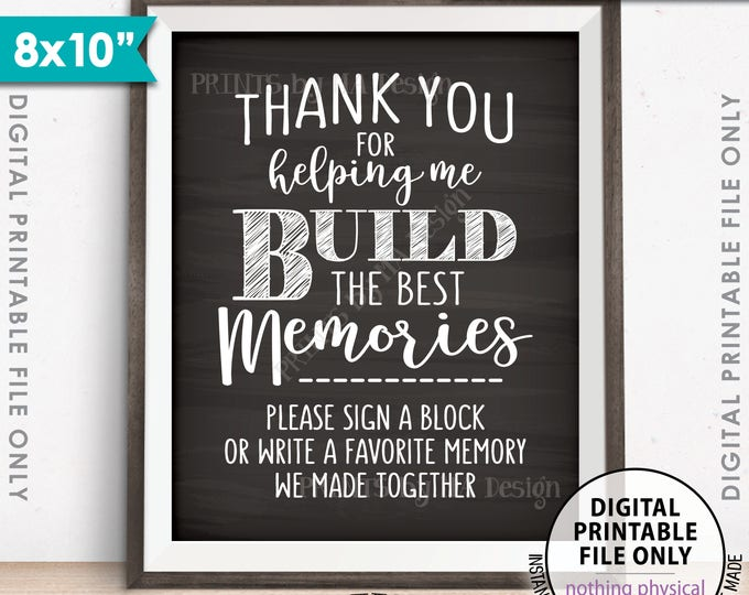 """Sign a Block Sign, Thank You for Helping Me Build Memories, Graduation Party, Retirement, 8x10"""" Chalkboard Style Printable Instant Download"""