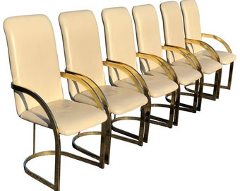 Milo Baughman Style Brass and Leather Set of Chairs