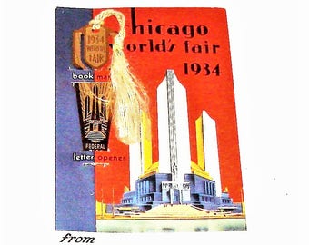 1934 Worlds Fair Book Mark Mint on Original Card RARE Collectible