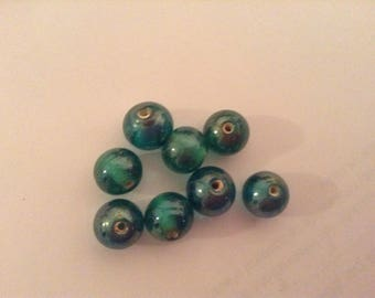 8 pearls round green 10mm
