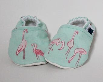 6-9 months - Baby slippers, Mint, Neon pink, Flamingos, Cute, Flannel, Cotton, Soft soles Moccasins, Shower gift, Newborn, First crib shoes
