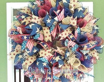 Americana Wreath, Patriotic wreath, July 4th wreath, Summer wreath, Front door wreath