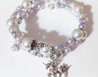 Unicorn bracelet pink crystal & pearls