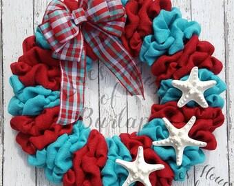 Beach wreath, Burlap wreath, Starfish wreath, Beach Christmas wreath, Seashell wreath, Beach wreath, Turquoise wreath, Front door wreath