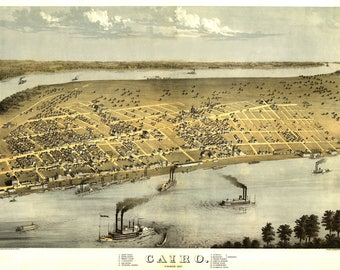 Cairo IL Panoramic map dated 1867. This print is a wonderful wall decoration for Den, Office, Man Cave or any wall.