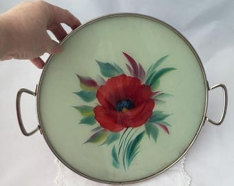 ON SALE VINTAGE Glass Tray round poppy red floral glass tray with handles 1970's vintage glass red floral tray  serving decorative tray