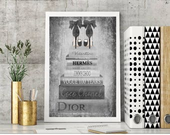High Fashion, Watercolor, fashion books, fashion illustration, shoes, black & silver, gray, black, white,fashion print,wall art,heels, stack