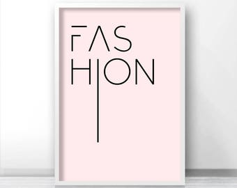 Digital Download Print, Pink Fashion Print, Pink Wall Art, Instant Download Printable Art, Digital Wall Art, Fashion Poster, Pink Wall Decor