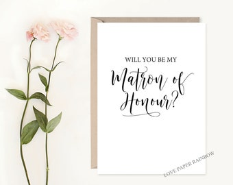 matron of honour card, will you be my matron of honour, matron of honour proposal, calligraphy matron of honour card