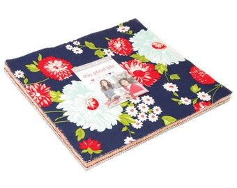 """Moda Fabrics - The Good Life Fat Layer Cake or 10"""" Squares by Bonnie and Camille / Navy, Red, Aqua, Coral Florals and Stripes"""