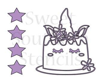 Unicorn Cake PYO Cookie Stencil