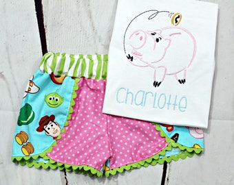 Girls Toy Story Shirt- Toy Story Outfit- Shorts- Hamm- Woody- Buzz- Rex- Alien- Lots o Huggin Bear- 6m, 12m, 18m, 2t, 3t, 4, 5, 6 8
