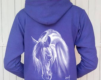 Hood and zip - woman - horse to the horsehair white Sweatshirt