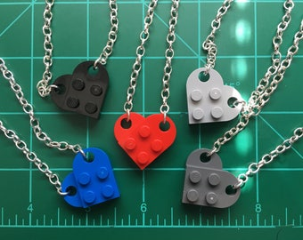 Lego Heart Necklace with Silver color chain