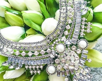 GISELLE - Pearl & Rhinestone Statement Necklace