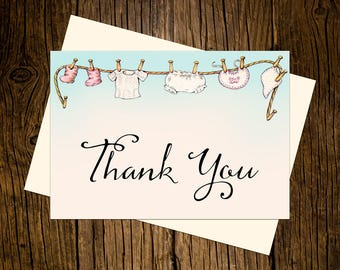 Baby Cloths Thank You Note Cards Custom Printed Handmade Stationery Set of 12 Blue Pink Vintage Ecru
