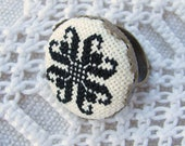 Embroidered ring, Black ring, Ethnic jewelry, Adjustable ring, Elegant ring, Statement ring boho, Bohemian ring, Black and white ring,