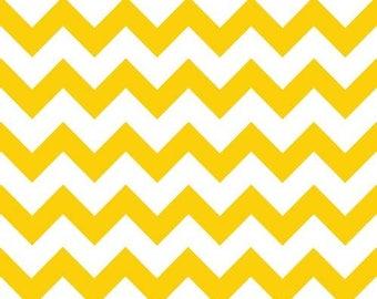 Yellow on White Chevron Fabric by the Yard