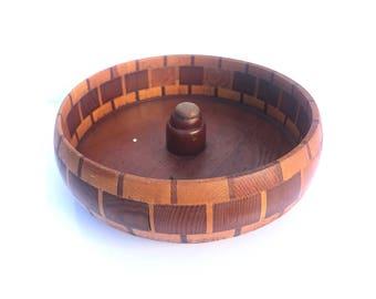 Vintage Round Wood Bowl - Wood Nut Bowl -- Wooden nut bowl -- Round Wood Bowl -- Redwood Forests Wooden Nut Bowl --Nutcracker Bowl