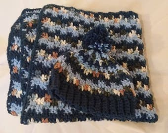 Blue and Brown Hat and Blanket set