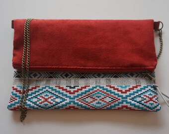 Bag zippered flap ethnic red, grey and blue