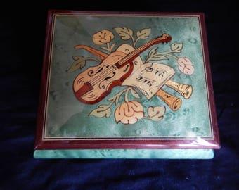 Vintage Rodi Music Box Reuge Swiss Made Barcarolle Melodie Wood inlay