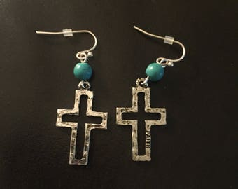 Cut-Out Cross Earrings w/ Turquoise Accent