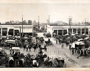 "Los Angeles City Market 1910 Vintage Panoramic Reprint Photograph 40"" Long Vintage Photo"