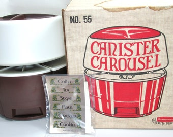 Vintage New Rubbermaid Party Plan Carousel Brown Lazy Susan Canister Set Unopened Labels NOS 1960s MCM