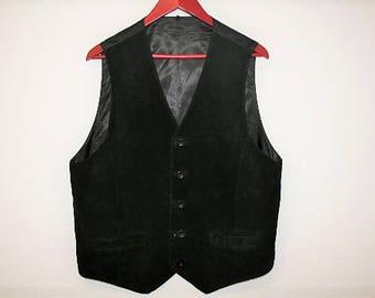 Black Suede Vest GentlemensWedding Waistcoat  Country Western  Leather Vest Biker  Size Large