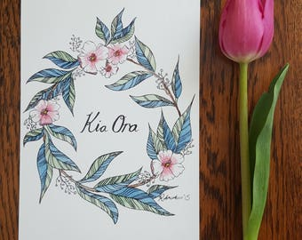 Kia Ora Floral Watercolour A5
