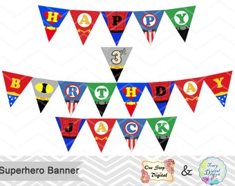 Printable Superhero Banner, Printable Superhero Bunting, Instant download Superhero Birthday Banner, Superhero Birthday Party Bunting 00265
