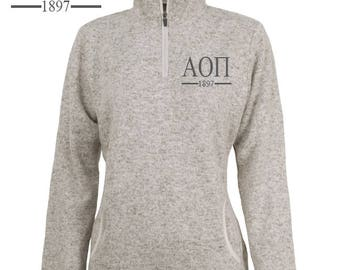 Alpha Omicron Pi // A O II // Charles River Women's Heather Fleece Pullover // Sorority Apparel // Greek Apparel and Gift Items