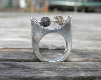 Ring abacus Sterling Silver 925 lava stone and black, design, modern, contemporary, size custom, hand made, ring Imposante