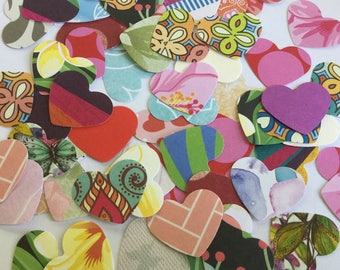 Mixed heart confetti, assorted hearts, paper hearts, confetti, scrapbooking, ephemera, embellishment, journaling, small heart, set of 50