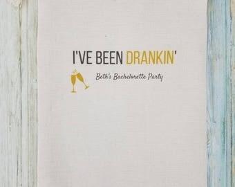 10 Bachelorette Party Favor, Hangover Kit, Survival Kit, Recovery Kit, Emergency Kit, Custom Bachelorette Party Bags - I've Been Drankin'