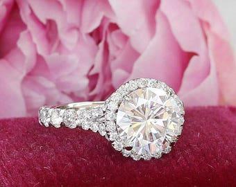 """Amazing """"Madison Avenue"""" Split Shank Halo Engagement Ring"""