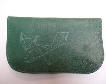 Tobacco pouch in green leather and origami Fox