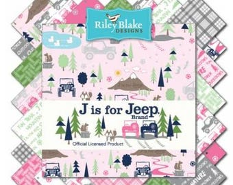 """Dollar Days Sale!  Precut Charm Pack J is for Jeep - (42) 5"""" x 5"""" Squares"""