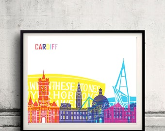 Cardiff skyline pop - Fine Art Print Glicee Poster Gift Illustration Pop Art Colorful Landmarks - SKU 2403